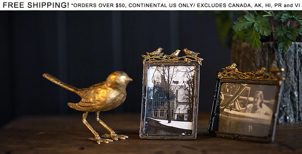 Cast Iron Bird Decor