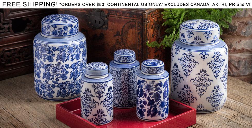 Blue and white ceramic jars