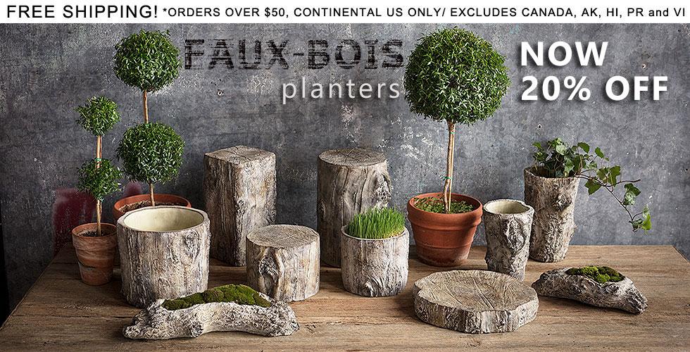 Faux-Bois Cement Planters