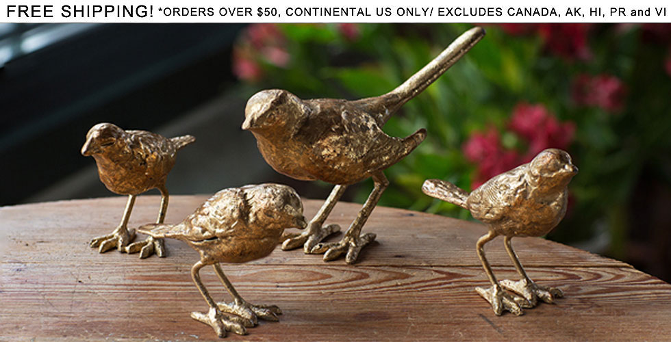 Cast Iron Gold Leafed Bird Set