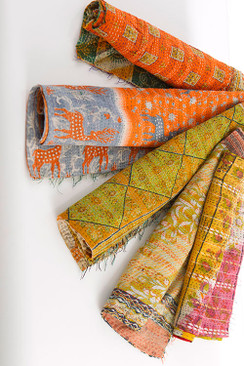 Vintage Cotton Scarf with Kantha Stitch