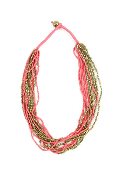 Multilayered Gold & Coral Necklace
