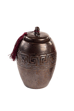Dark Brown Ceramic Tea Storage Canister with Maroon Tassel