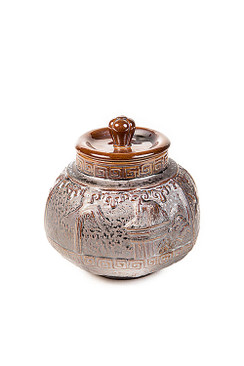 Dark Brown Ceramic Tea Storage Canister with Bird Motif