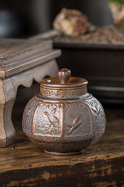 Ceramic Storage Pot with Bird Motif