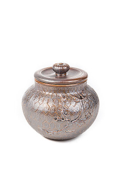 Dark Brown Ceramic Tea Storage Canister with Plum Tree Motif