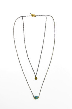 Gold Plated Fluorite Nugget Necklace