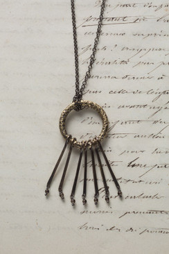 Antique Finish Tranquil Necklace with Smokey Quartz