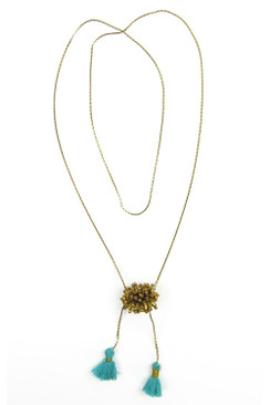 Gold Metal Necklace with Turquoise Tassels