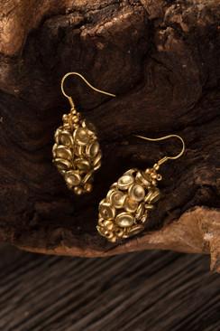 Gold Metal Button Earrings