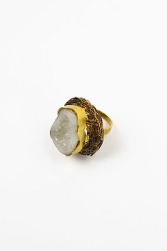 White Quartz Druzy Nest Ring