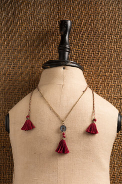 Three Red Tassel Necklace