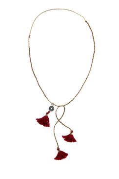 Three Red Tassel Necklace