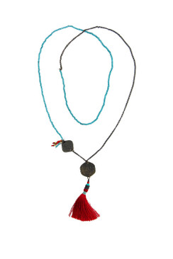 Double India Coin and Red Tassle Necklace