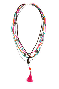 Pink Tassle and Brass Coin Necklace
