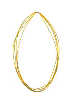 Multi Strand Saffron Yellow Necklace