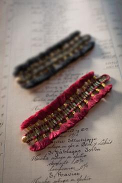 Red and Gold Multi Tassel Bracelet