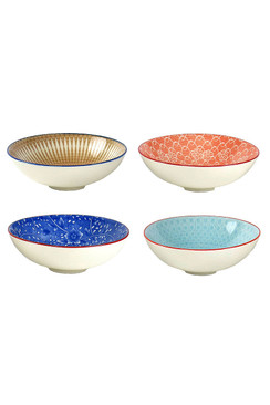 Floral Motif Ceramic Bowls - Medium