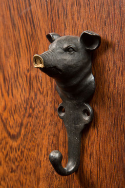 Cast Pewter Pig Hook with Gold Nose