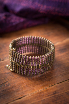 Amethyst Glass and Gold Cuff