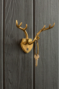 Cast Iron Gold Leaf Antler Hook