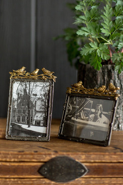 Pewter Frame with Gold Leaf Birds