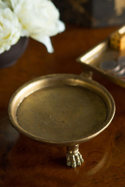 Claw Foot Round Dish with Gold Leaf