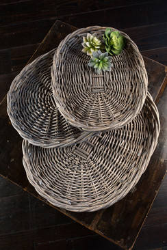 Oval Platters in Grey Wash - Set of 3