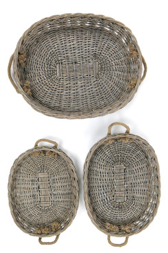 XLarge Oval Willow Serving Trays - Set of 3