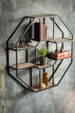 Iron and Wood Hexagonal Shelf