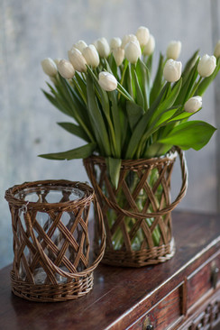 Thick Glass and Wicker Vase with Handle