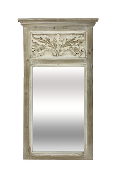 Carved Wood Mirror in Distressed White
