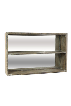 Black and Gray Distressed Pine Shelf Mirror