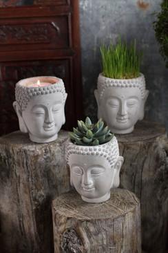 Cement Buddha Head Planter
