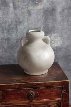 Ceramic White Vase with Handles