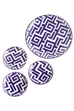 Set of 4 Handpainted Ceramic Moroccan Plates