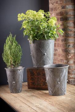 Zinc Drum Planters - Set of 3