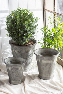 Metal Planters with Copper Finish - Set of 3