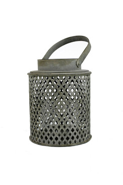 Cylinder Diamond Perforated Metal Lantern