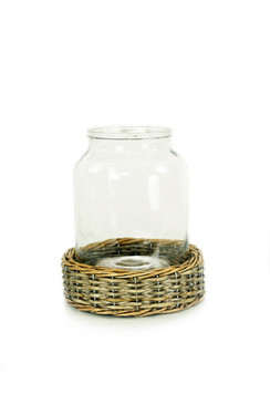 Glass and Wicker Terrarium - Cylinder