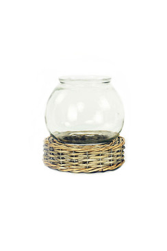 Glass and Wicker Terrarium - Small