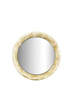 Distressed White Wooden Mirror