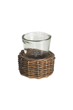 Glass Vase with Wicker Base