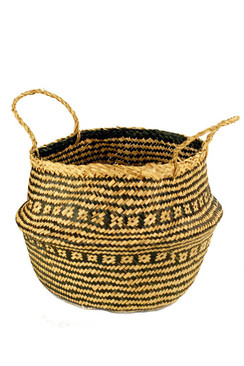 Handwoven Collapsible Storage Basket in Black & Natural