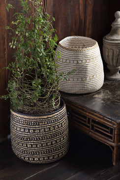 Handwoven Cylinder Basket in Black & Natural Seagrass