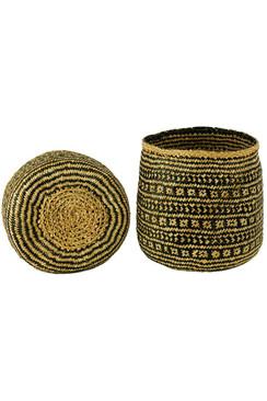 Handwoven Cylinder Basket in Black & Natural Seagrass