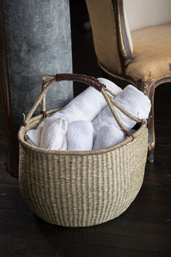 Handwoven Seagrass Market Basket in Natural