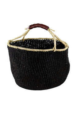 Handwoven Seagrass Market Basket in Black