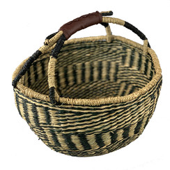 Handwoven Market Seagrass Basket in Black & Natural
