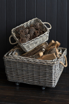 Willow Basket with Wheels